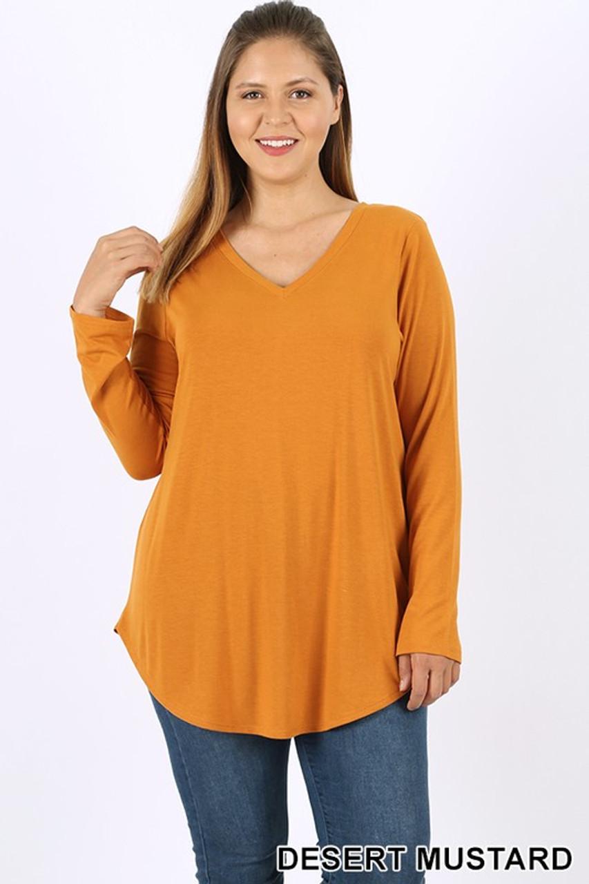 Desert Mustard Premium V-Neck Round Hem Long Sleeve Plus Size Top