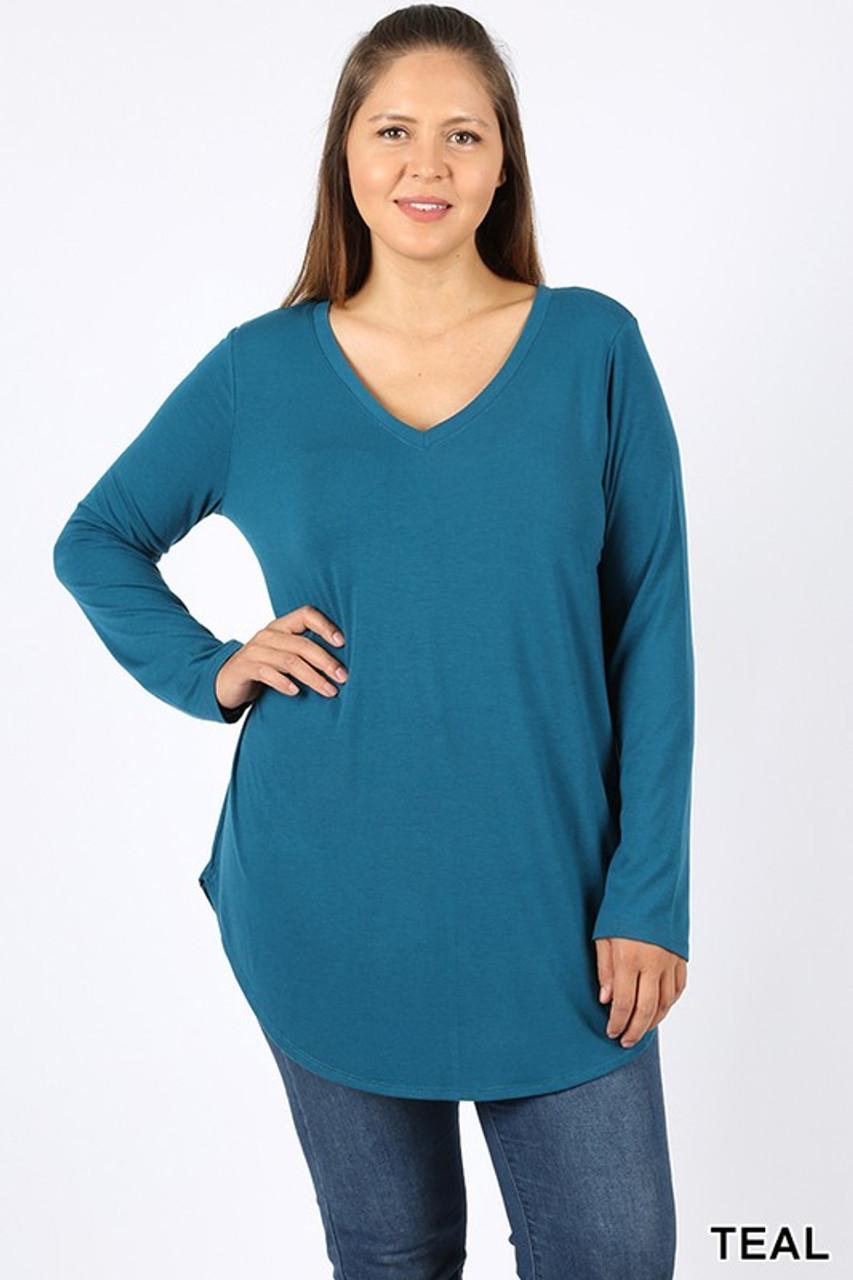 Teal Premium V-Neck Round Hem Long Sleeve Plus Size Top