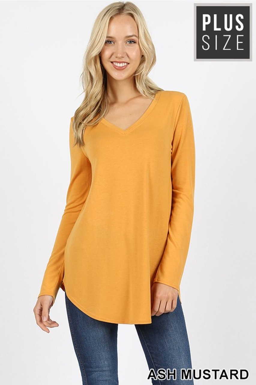 Ash Mustard Premium V-Neck Round Hem Long Sleeve Plus Size Top