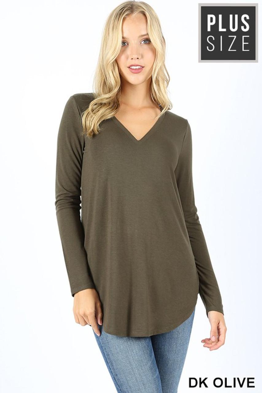 Dark Olive Premium V-Neck Round Hem Long Sleeve Plus Size Top