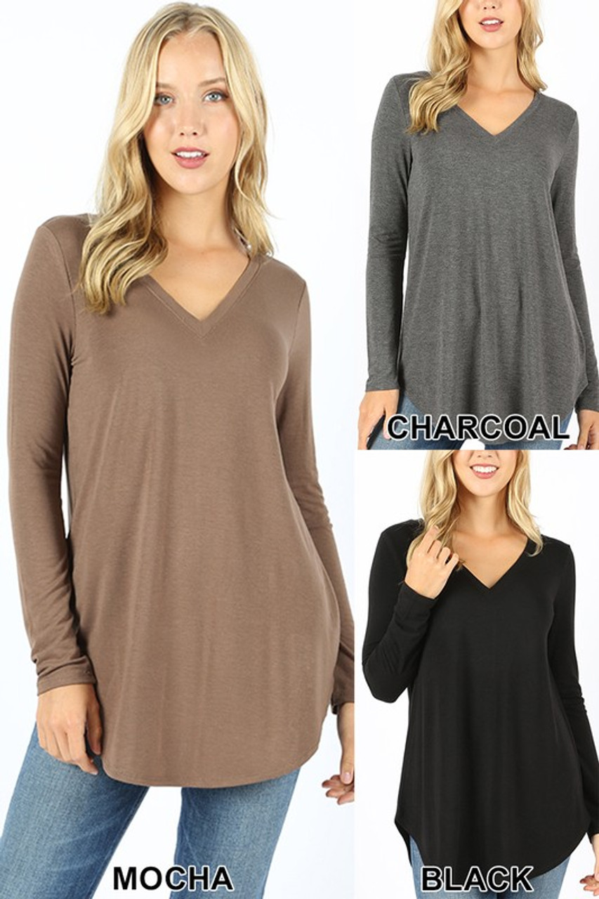 Image showing Premium V-Neck Round Hem Long Sleeve Plus Size Top in three colors: Mocha, Charcoal, and Black