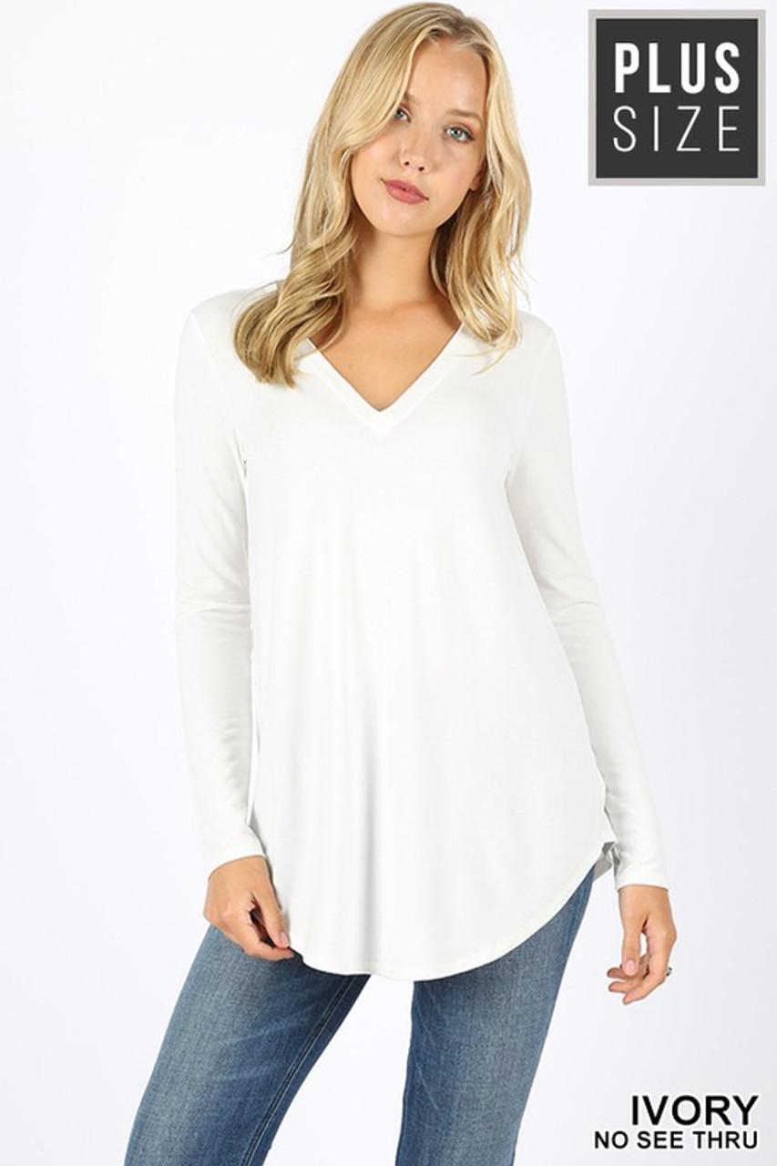 Ivory Premium V-Neck Round Hem Long Sleeve Plus Size Top