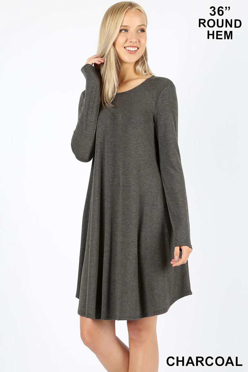 Premium Long Sleeve A-Line Round Hem Rayon Tunic with Pockets