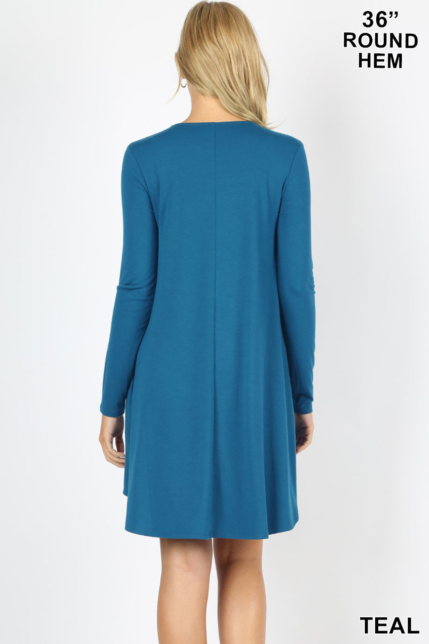 Back view image of Teal Premium Long Sleeve A-Line Round Hem Rayon Tunic with Pockets