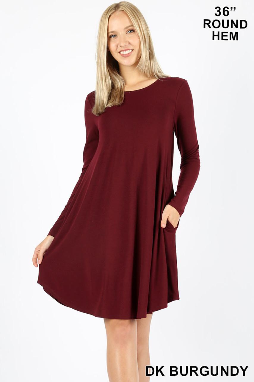 Dark Burgundy Premium Long Sleeve A-Line Round Hem Rayon Tunic with Pockets