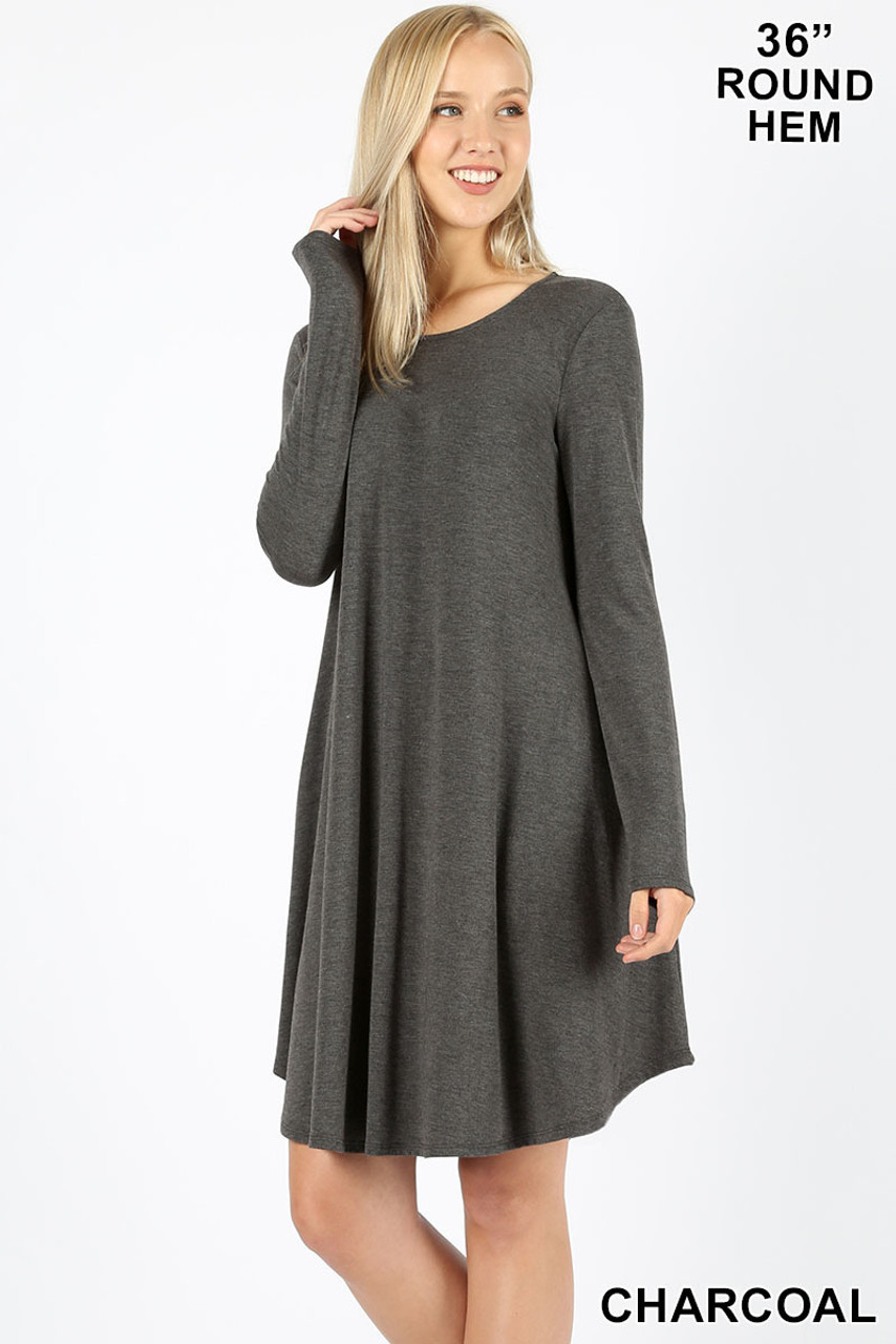 Charcoal Premium Long Sleeve A-Line Round Hem Rayon Tunic with Pockets