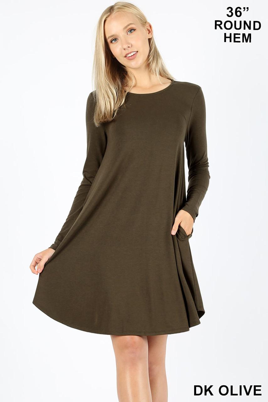 Dark Olive Premium Long Sleeve A-Line Round Hem Rayon Tunic with Pockets