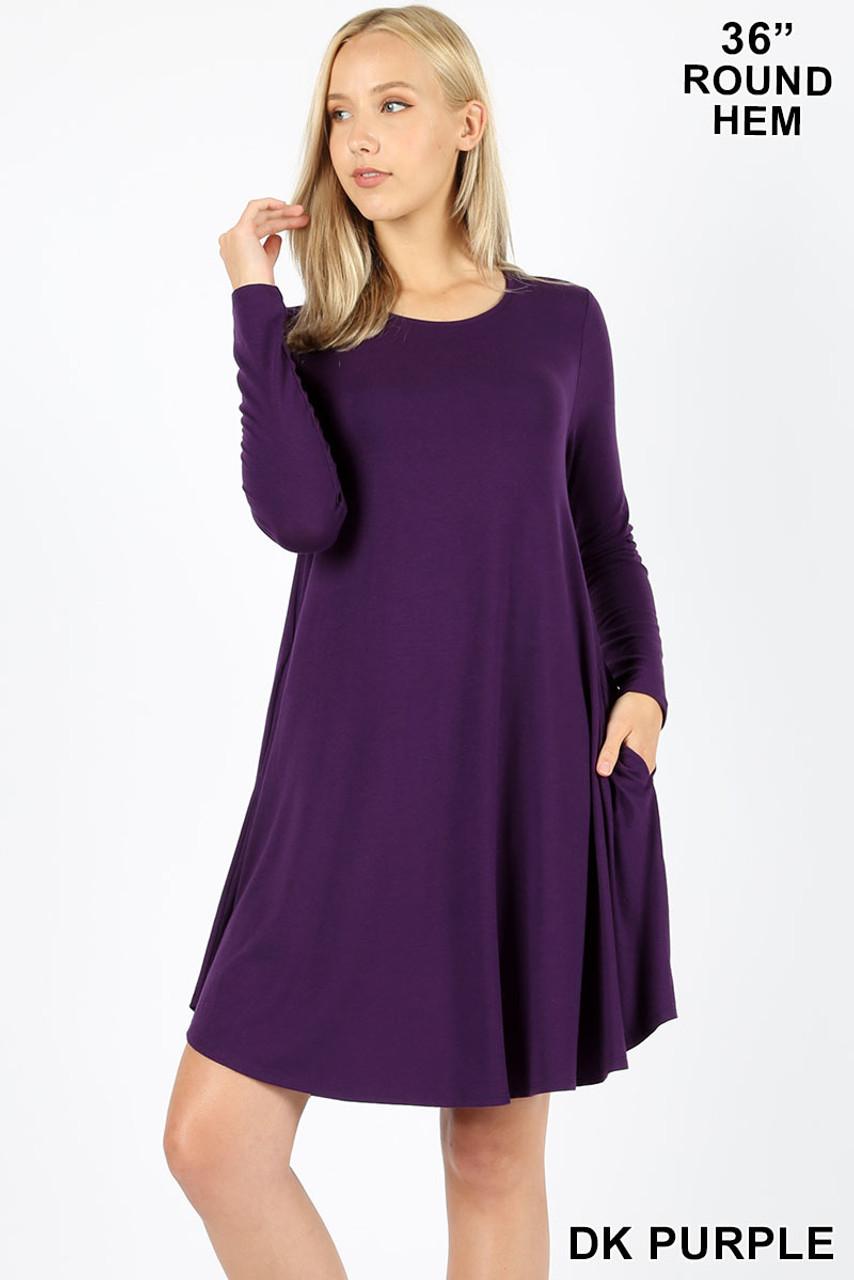 Dark Purple Premium Long Sleeve A-Line Round Hem Rayon Tunic with Pockets