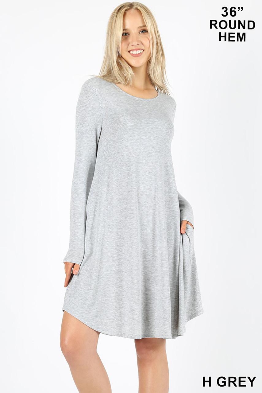 Heather Grey Premium Long Sleeve A-Line Round Hem Rayon Tunic with Pockets