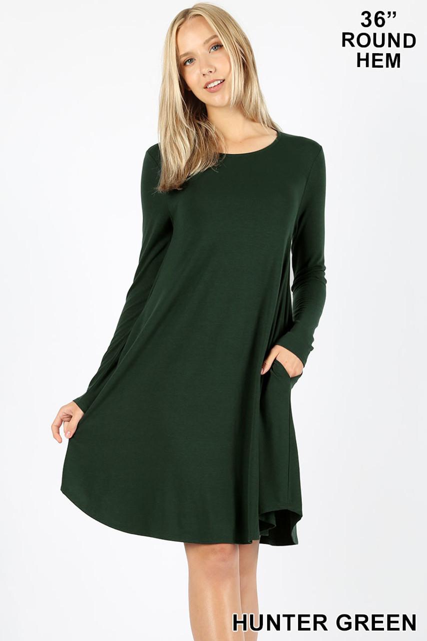 Hunter green Premium Long Sleeve A-Line Round Hem Rayon Tunic with Pockets