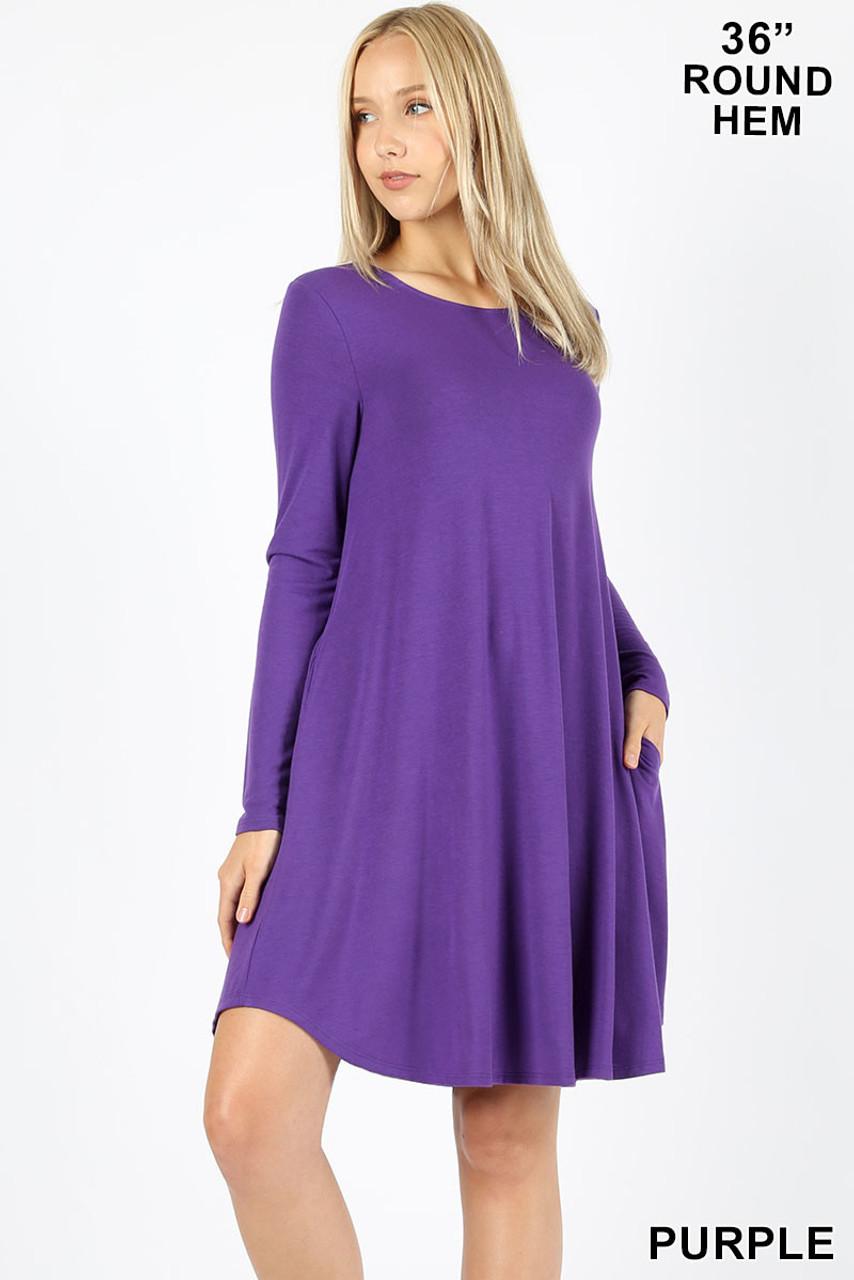 Purple Premium Long Sleeve A-Line Round Hem Rayon Tunic with Pockets