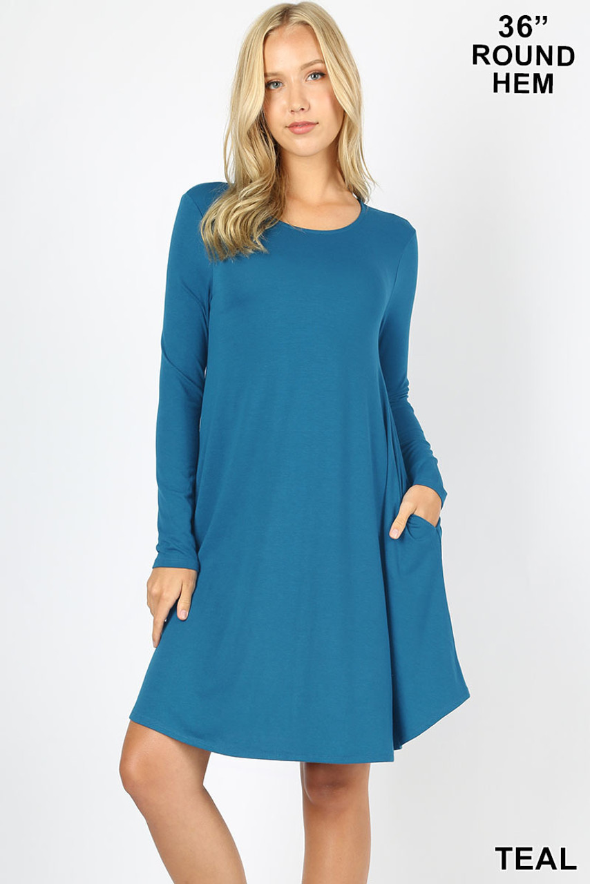 Teal Premium Long Sleeve A-Line Round Hem Rayon Tunic with Pockets