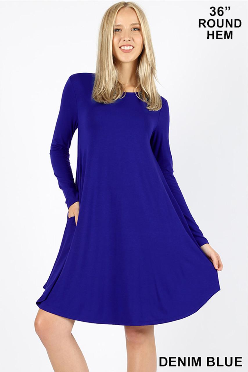 Denim Blue Premium Long Sleeve A-Line Round Hem Rayon Tunic with Pockets