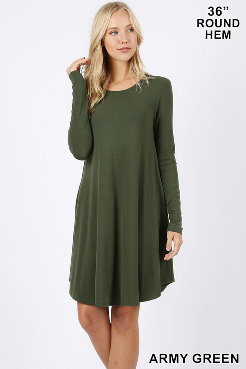 Army green Premium Long Sleeve A-Line Round Hem Rayon Tunic with Pockets