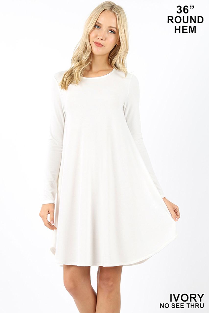 Ivory Premium Long Sleeve A-Line Round Hem Rayon Tunic with Pockets