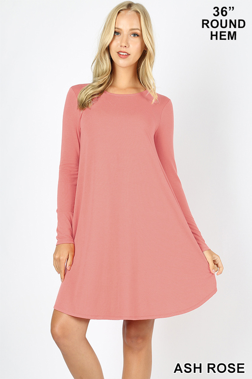 Ash Rose Premium Long Sleeve A-Line Round Hem Rayon Tunic with Pockets