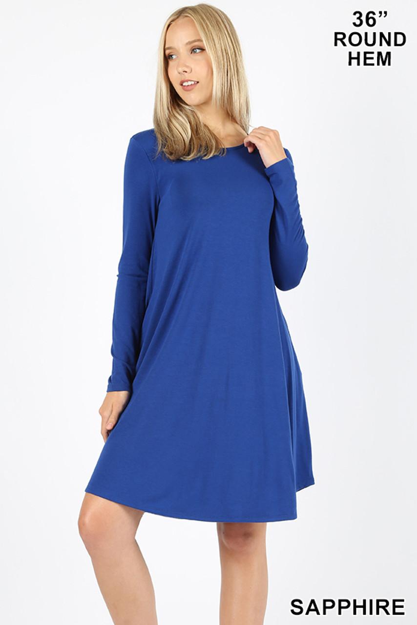 Sapphire Premium Long Sleeve A-Line Round Hem Rayon Tunic with Pockets