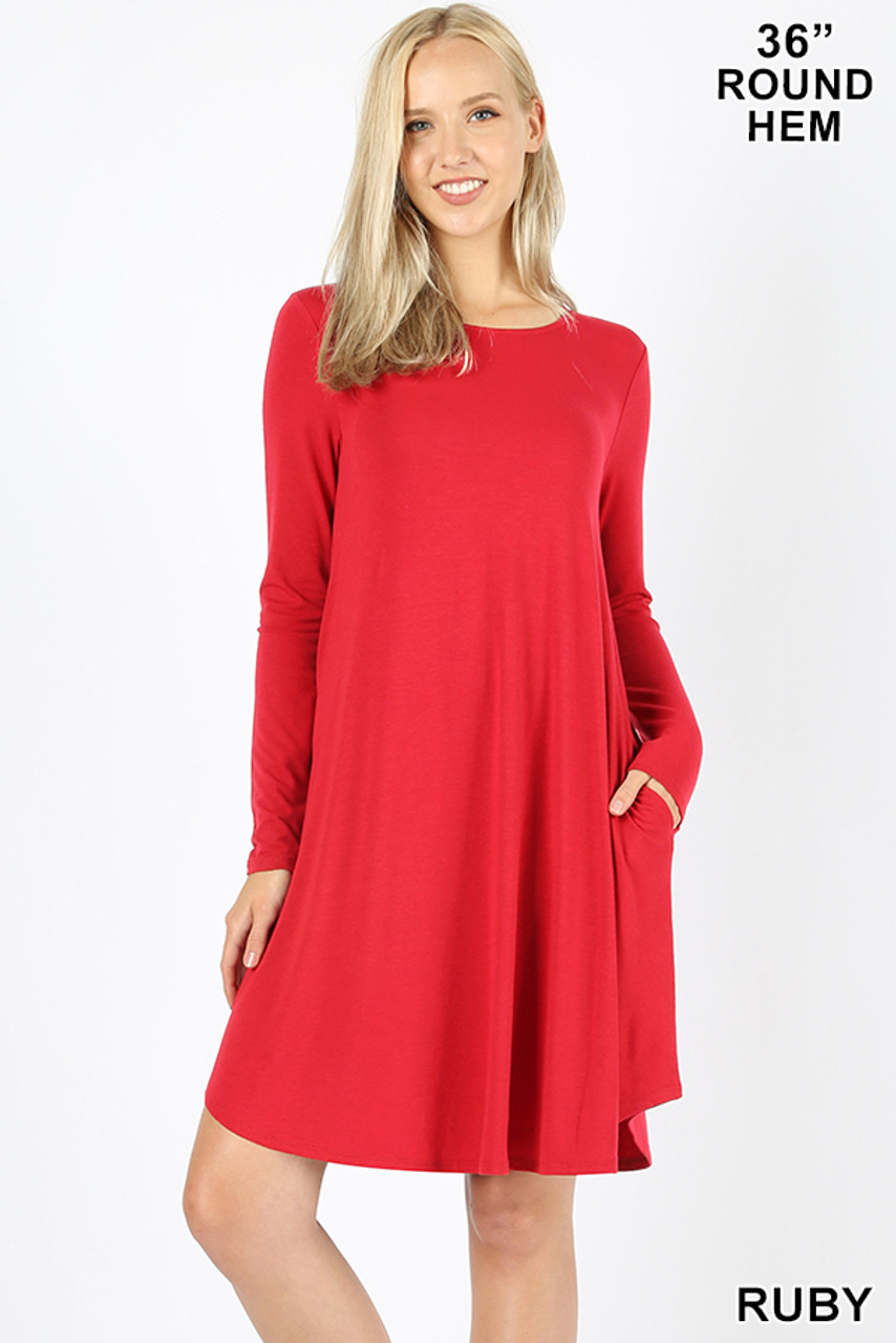 Ruby red Premium Long Sleeve A-Line Round Hem Rayon Tunic with Pockets