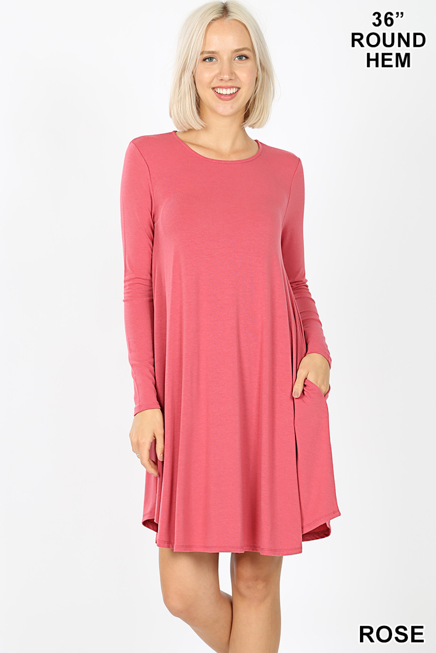 Rose Premium Long Sleeve A-Line Round Hem Rayon Tunic with Pockets