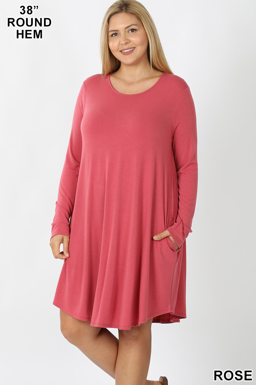 Rose Premium Long Sleeve A-Line Round Hem Plus Size Rayon Tunic with Pockets