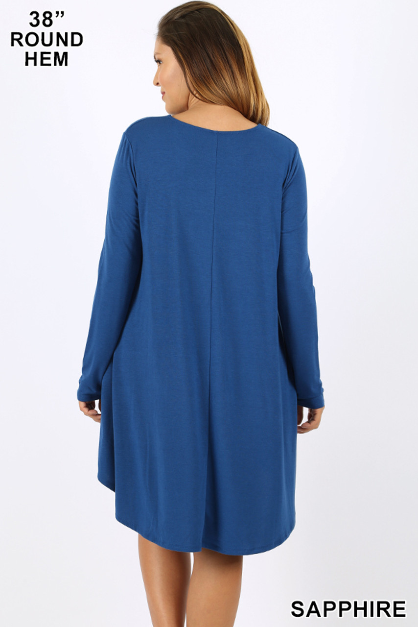 Back of sapphire Premium Long Sleeve A-Line Round Hem Plus Size Rayon Tunic with Pockets