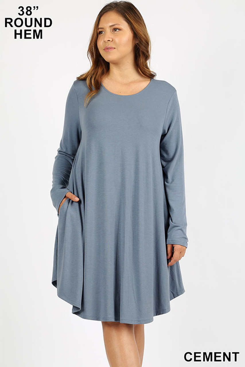 Cement Premium Long Sleeve A-Line Round Hem Plus Size Rayon Tunic with Pockets