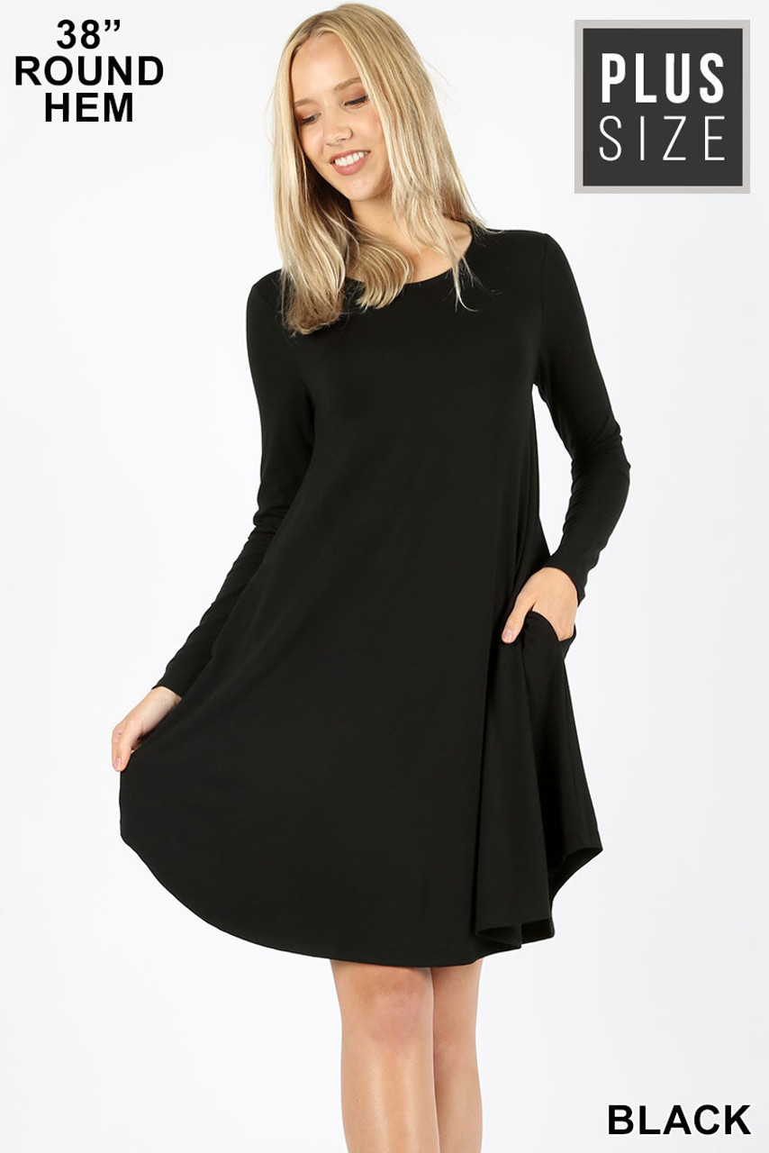 Black Premium Long Sleeve A-Line Round Hem Plus Size Rayon Tunic with Pockets