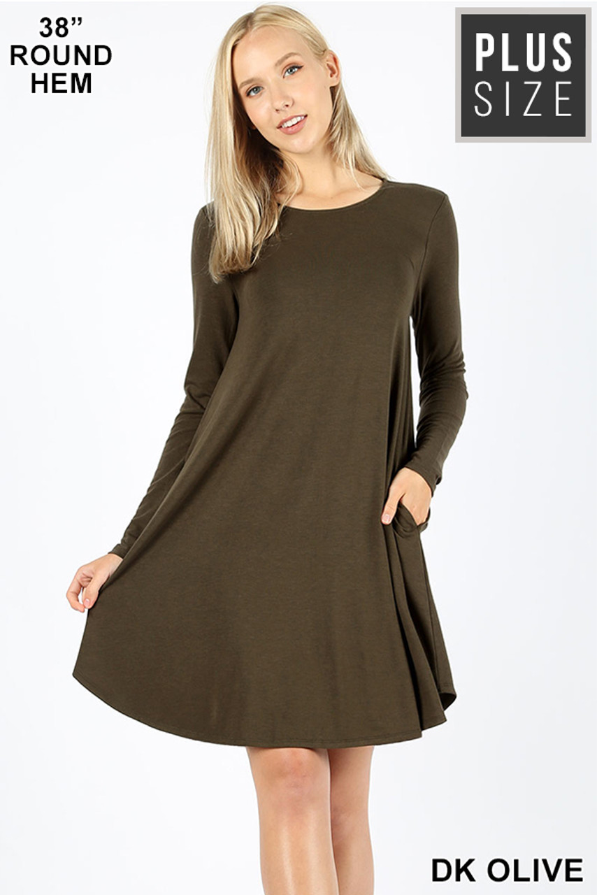 Dark olive Premium Long Sleeve A-Line Round Hem Plus Size Rayon Tunic with Pockets