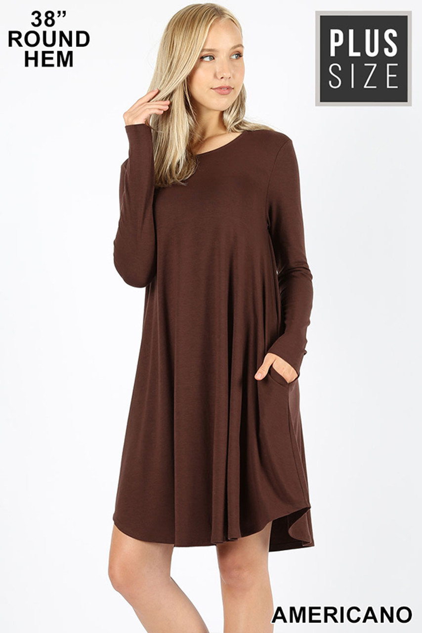 Americano Premium Long Sleeve A-Line Round Hem Plus Size Rayon Tunic with Pockets