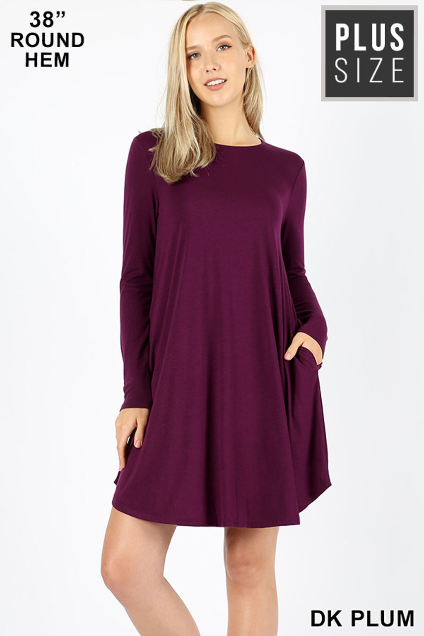 Dark plum Premium Long Sleeve A-Line Round Hem Plus Size Rayon Tunic with Pockets