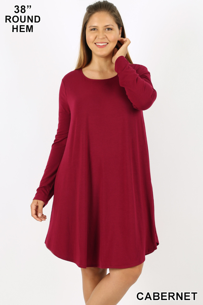 Cabernet Premium Long Sleeve A-Line Round Hem Plus Size Rayon Tunic with Pockets