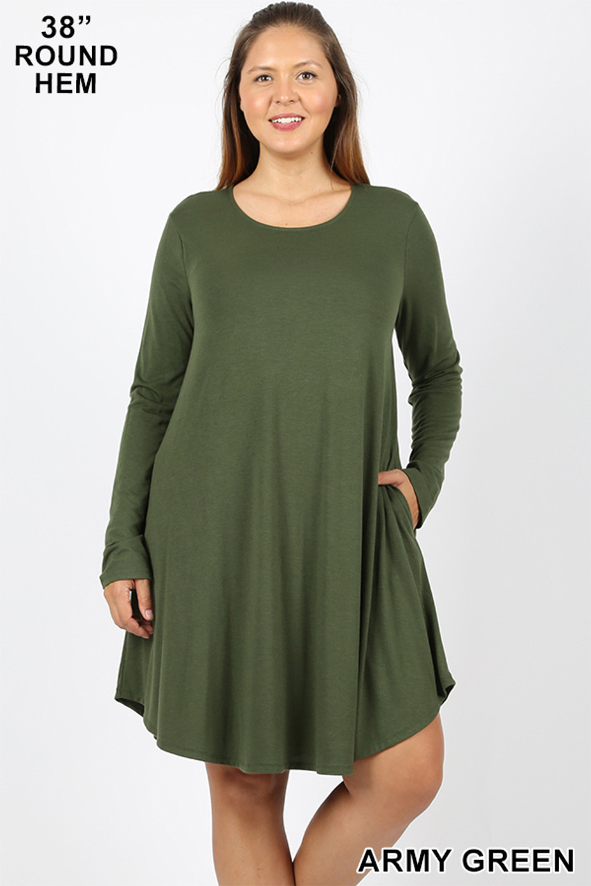 Army green Premium Long Sleeve A-Line Round Hem Plus Size Rayon Tunic with Pockets