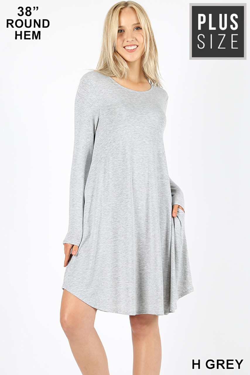 Heather grey Premium Long Sleeve A-Line Round Hem Plus Size Rayon Tunic with Pockets