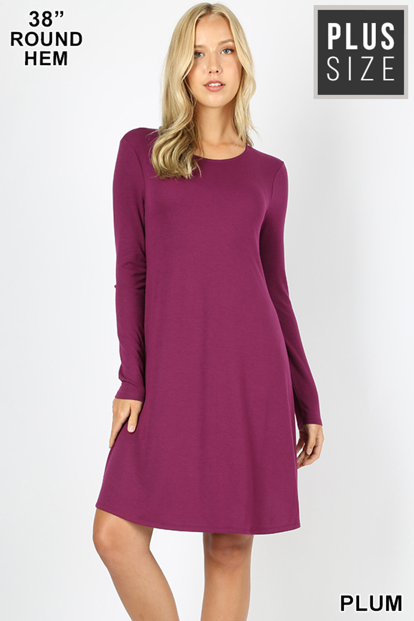 Plum Premium Long Sleeve A-Line Round Hem Plus Size Rayon Tunic with Pockets
