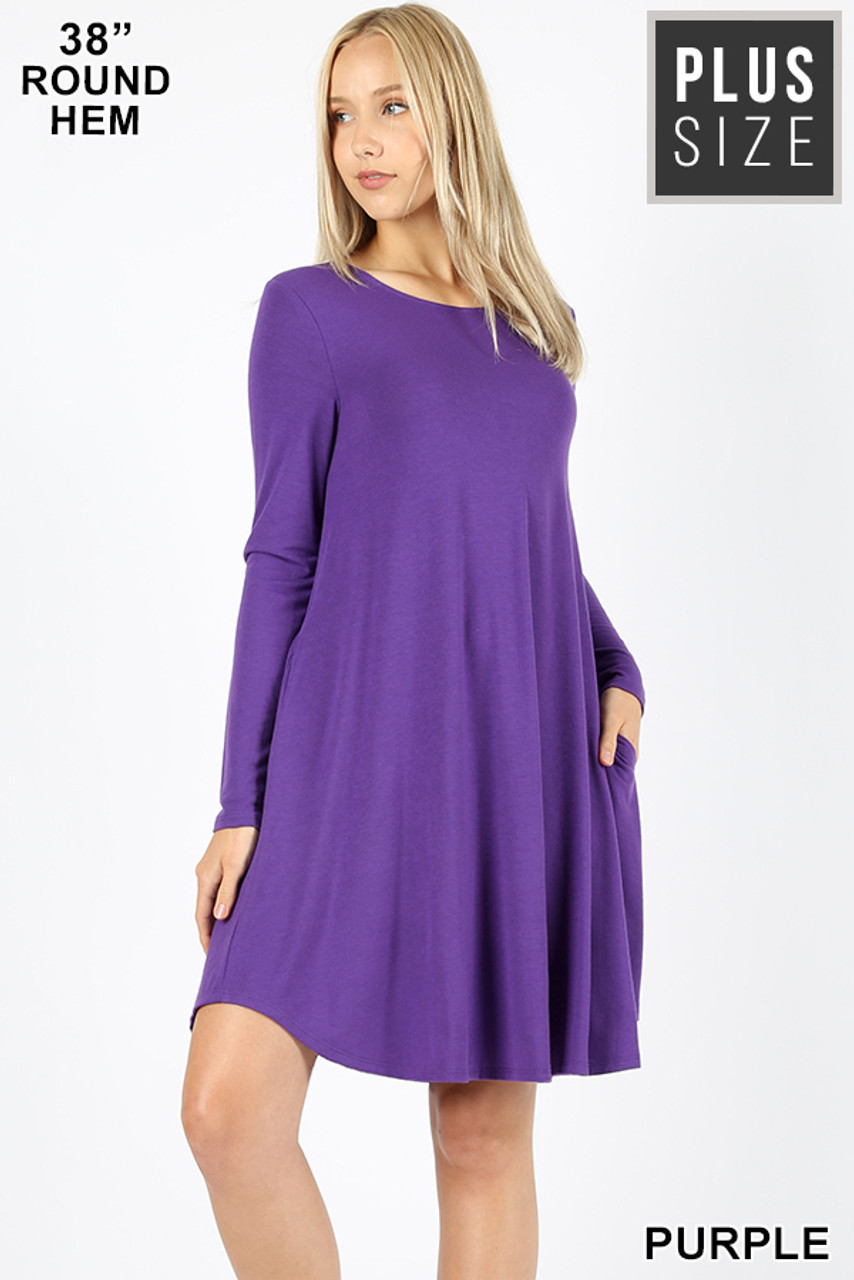 Purple Premium Long Sleeve A-Line Round Hem Plus Size Rayon Tunic with Pockets