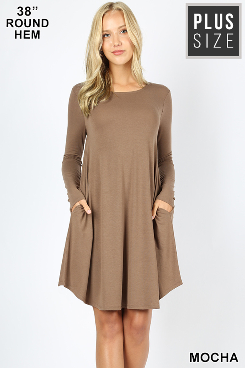 Mocha Premium Long Sleeve A-Line Round Hem Plus Size Rayon Tunic with Pockets