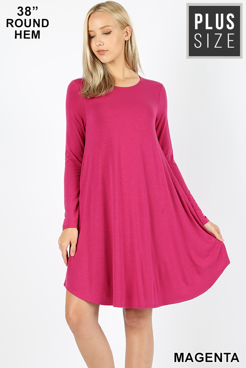 Magenta Premium Long Sleeve A-Line Round Hem Plus Size Rayon Tunic with Pockets
