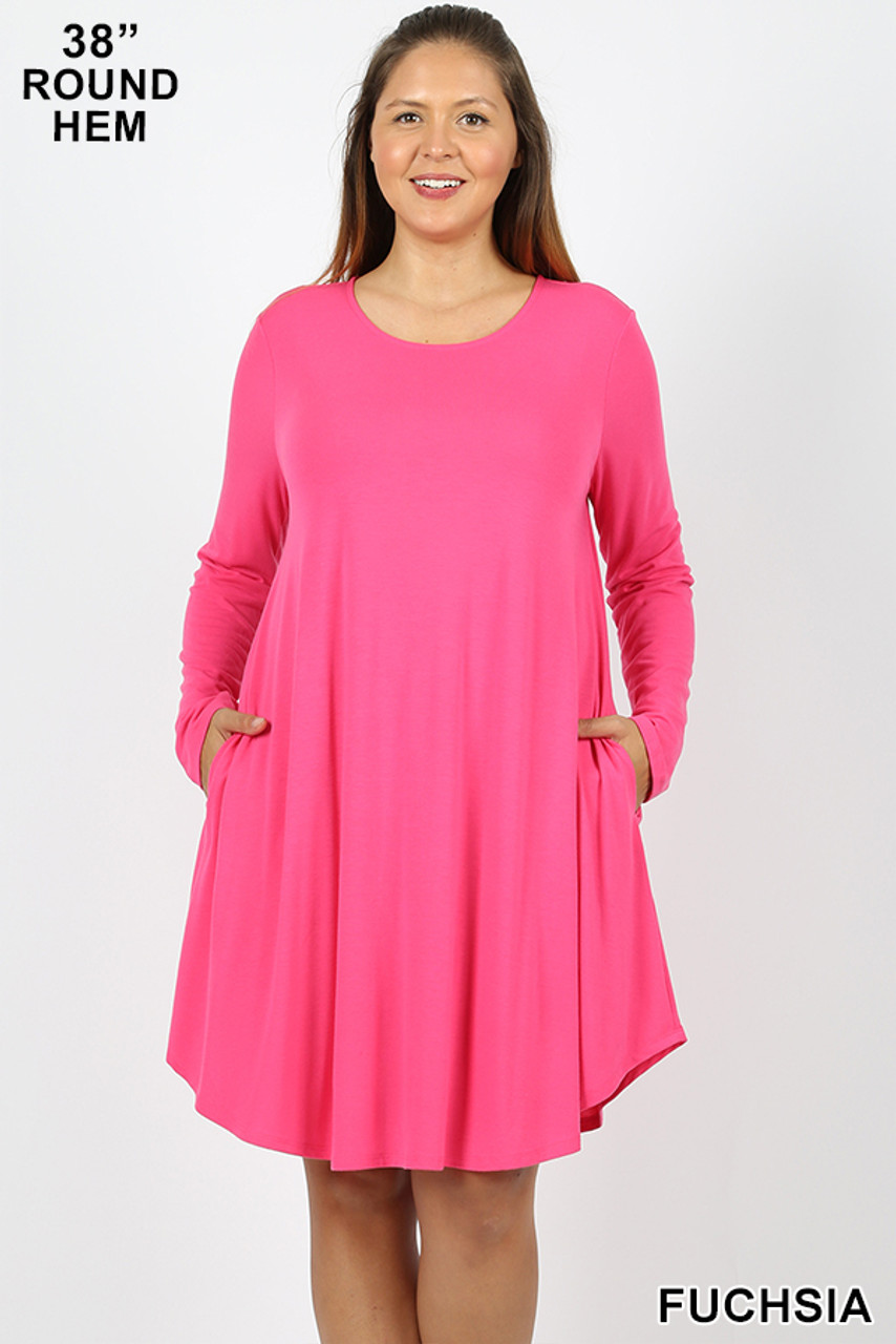 Fuchsia Premium Long Sleeve A-Line Round Hem Plus Size Rayon Tunic with Pockets