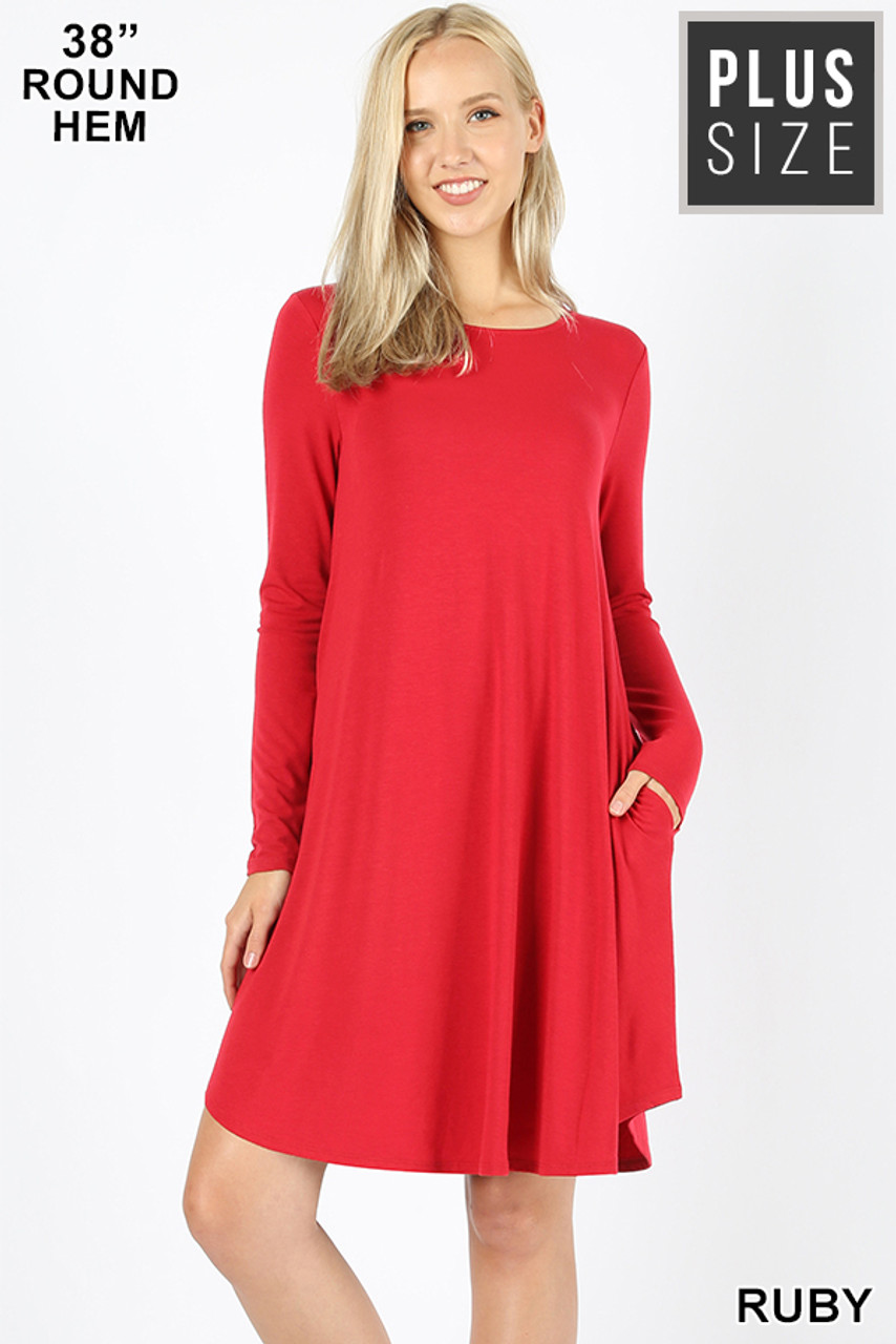 Red Premium Long Sleeve A-Line Round Hem Plus Size Rayon Tunic with Pockets