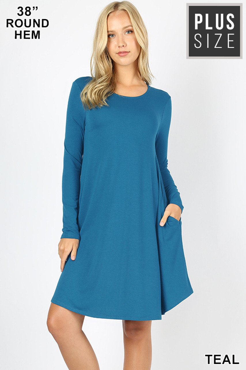 Teal Premium Long Sleeve A-Line Round Hem Plus Size Rayon Tunic with Pockets