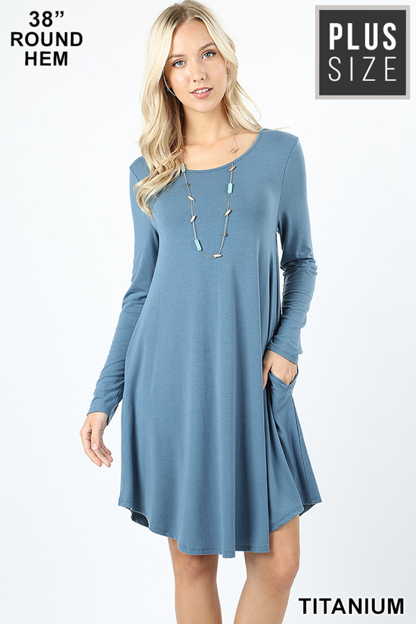 Titanium Premium Long Sleeve A-Line Round Hem Plus Size Rayon Tunic with Pockets