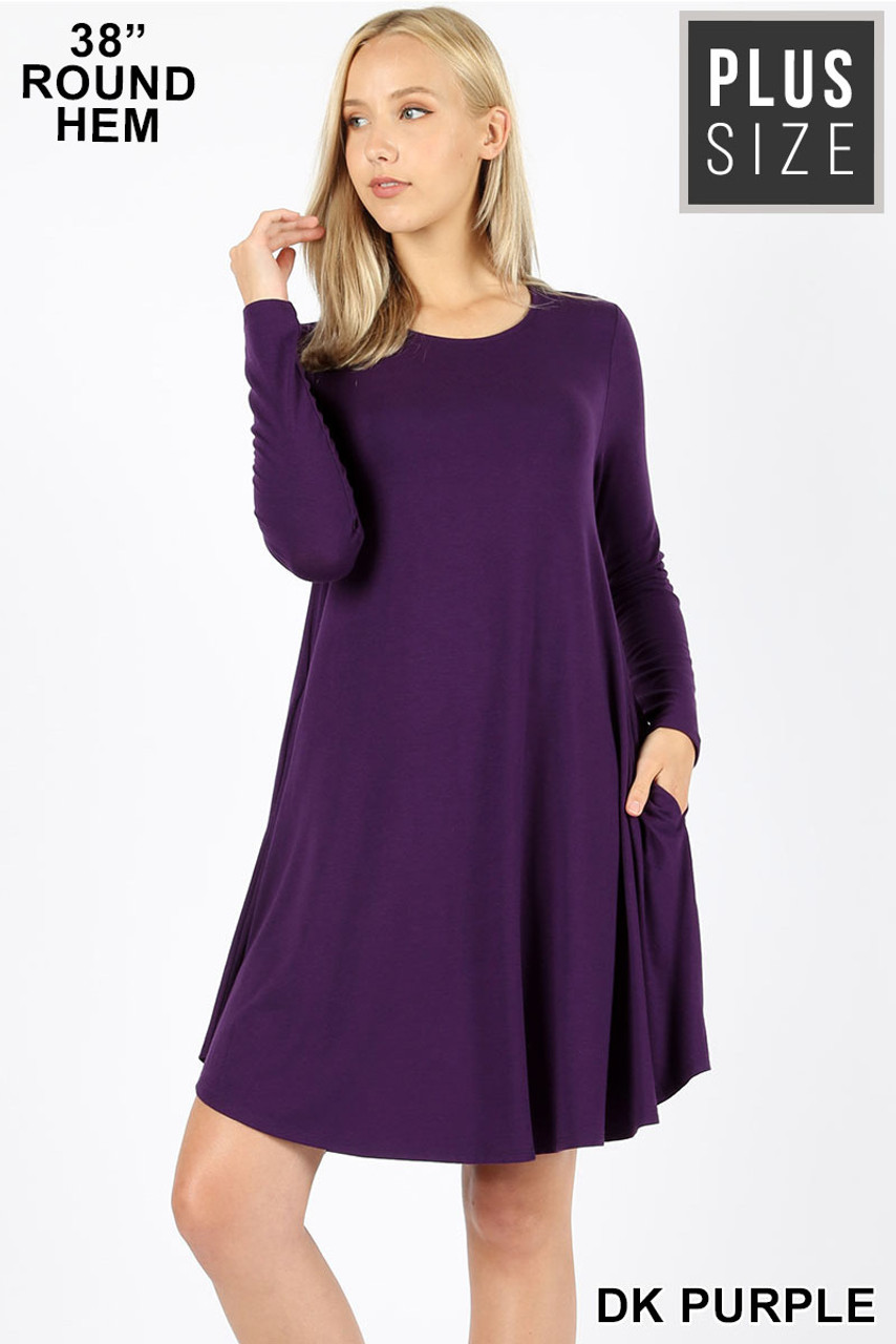 Dark Purple Premium Long Sleeve A-Line Round Hem Plus Size Rayon Tunic with Pockets