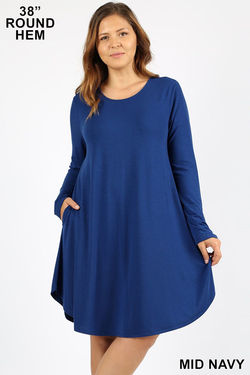 Mid Navy Premium Long Sleeve A-Line Round Hem Plus Size Rayon Tunic with Pockets