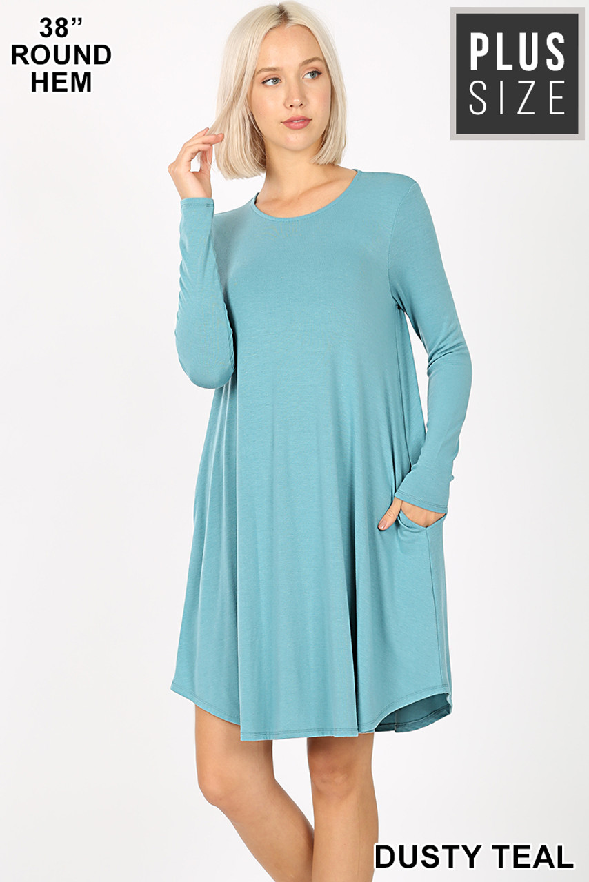 Dusty Teal Premium Long Sleeve A-Line Round Hem Plus Size Rayon Tunic with Pockets