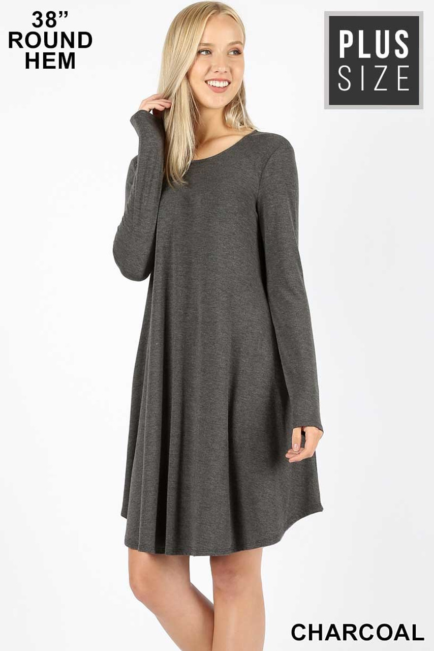 Charcoal Premium Long Sleeve A-Line Round Hem Plus Size Rayon Tunic with Pockets