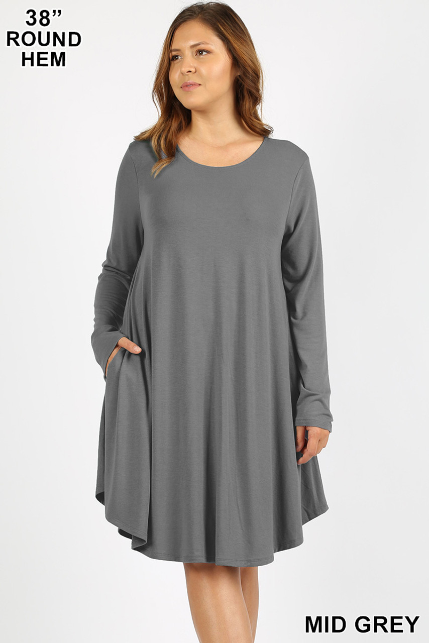 Mid Gray Premium Long Sleeve A-Line Round Hem Plus Size Rayon Tunic with Pockets