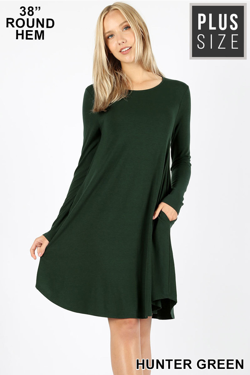 Hunter Green Premium Long Sleeve A-Line Round Hem Plus Size Rayon Tunic with Pockets