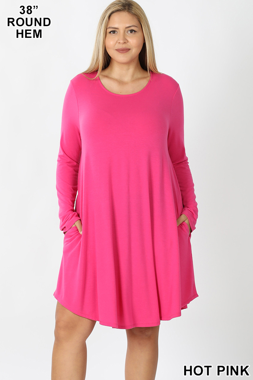 Hot Pink Premium Long Sleeve A-Line Round Hem Plus Size Rayon Tunic with Pockets