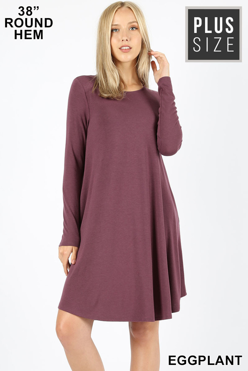 Eggplant Premium Long Sleeve A-Line Round Hem Plus Size Rayon Tunic with Pockets