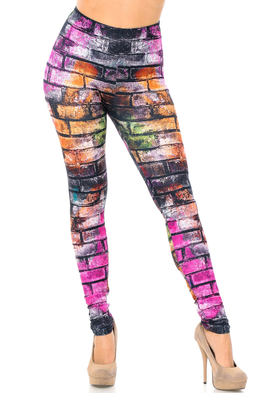 Front view image of full length skinny leg cut Creamy Soft Rainbow Brick Plus Size Leggings - USA Fashion™